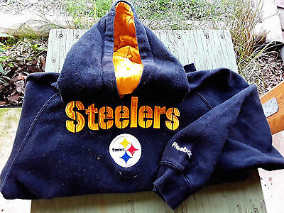 PITTSBURGH STEELERS REBOKE Hooded Black w Yellow trim Sweatshirt YOUTH size 5
