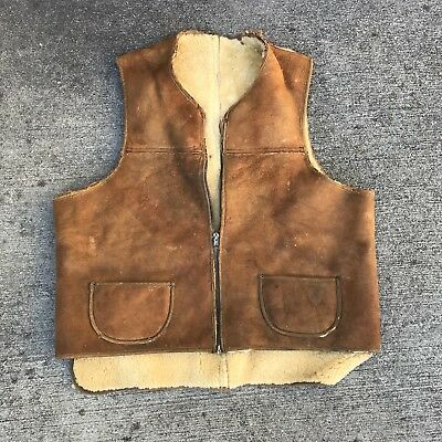 Vintage 1930s shearling vest leather workwear Jacket