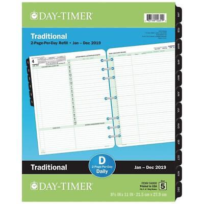 """Day-Timer Refill 2019, Two Page per Day, January 2019 - December 8-1/2"""" x..."""