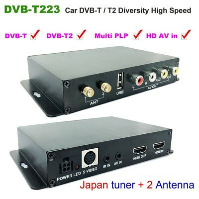 Car DVB-T2 DVBT USB High Speed HD SD TV receiver 2 Antenna tuner aux AV HDMI in