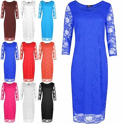 Ladies Womens Netted Full Lace Double Linning Bodycon Pencil Fit Midi Dress Top
