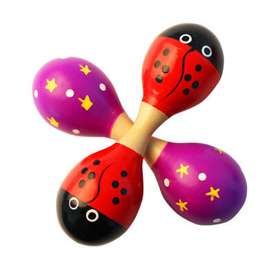 """3/5PCS 2-Side Wooden Maraca Rattle Baby Musical Party Shaker Toy Big Size 9x2.4"""""""