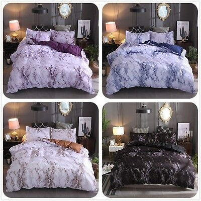 Marble Duvet Cover Quilt Cover Bedding Set with Pillow Case Single Double King