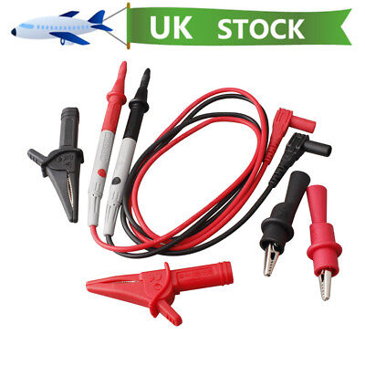 6X Test Lead Probes Set Alligator Clip For Universal Digital Multimeter Meter UK