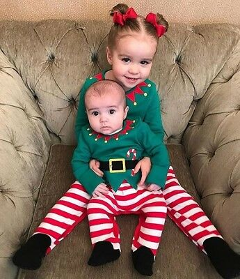 US Newborn Infant Baby Kids Girls Boys Romper Jumpsuit Christmas Outfits Clothes