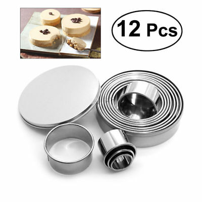 12pcs Stainless Steel Round Cake Biscuit Cookie Cutter Mold Baking Mould Tool