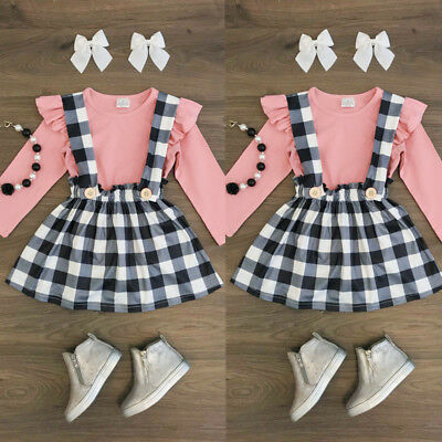 Fashion Newborn Kids Baby Girl Top Plaid Suspender Skirt Dress Outfit Clothes US