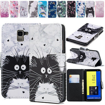 Luxury Leather Animal Flower Pattern Wallet Case Cover For Samsung Galaxy J4 J6