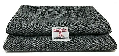 Harris Tweed Black and Grey Fabric with Labels for Craft Sewing Various Sizes