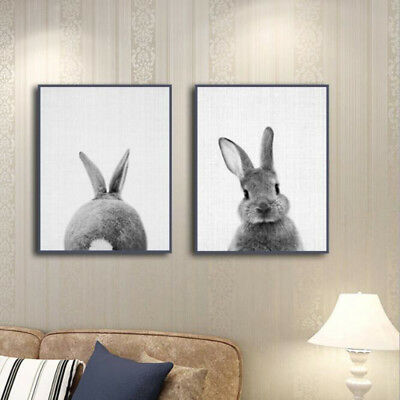 Lovely Nordic  Rabbit Print Poster Wall Art Animal Canvas Painting Picture #WE9