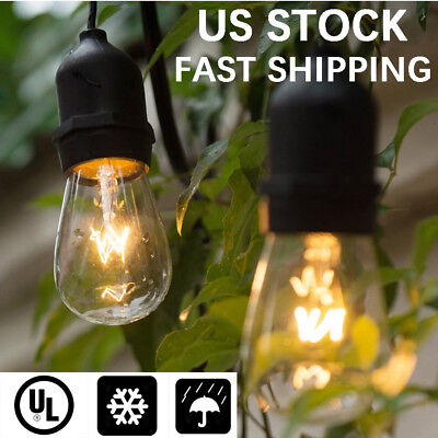 48FT Outdoor Waterproof Connectable Garden Patio String Strand Lights S14 Bulbs