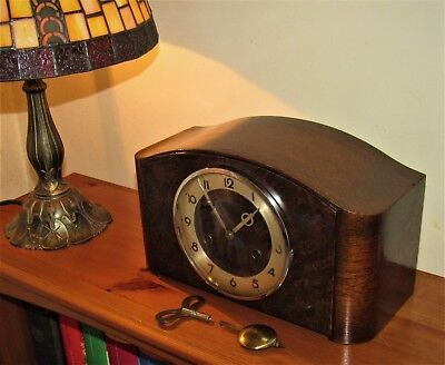 Hamburg American 1930s Art Deco German Striking Mantle Clock.