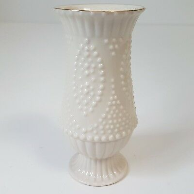 Small Lenox Bud Vase Embossed Raised Dots Bumps Cream with Gold Trim