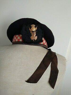 Vintage Highland Scottish Balmoral Pure Wool Beret w. Thissle Brooch Checkered