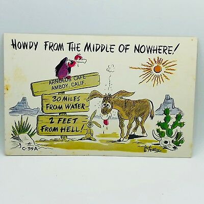 Postcard Vintage Howdy from the Middle of Nowhere Funny Mule Donkey 1000-24