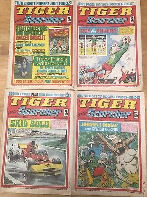 Tiger And Scorcher 1974 Joblot Bundle Vintage Sports Comic/magazine RARE ISSUES