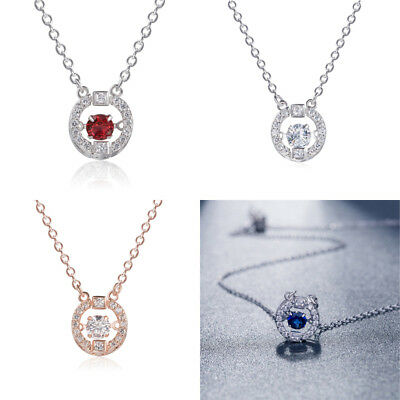 Long Chain Womens Fashion Crystal Rhinestone Silver Plated Pendant Necklace Gift