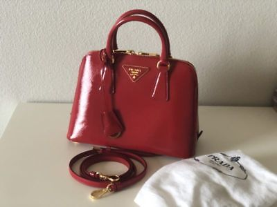 83093f19ba11a1 Prada Saffiano Lux Small Promenade corssbody top handle bag Calf Leather  rossa