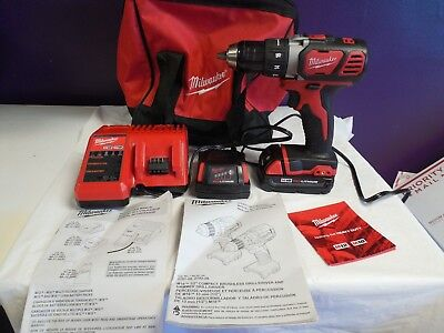 Milwaukee M18 Drill(2606-20) with 2 Batteries, 1 Charger, Bag, and Manuals