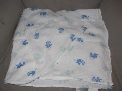 ADEN and ANAIS White Muslin Baby BLANKET Blue Elephant Boy Swaddle Cotton