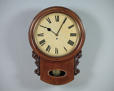 Antique Mahogany Drop Dial Fusee Wall Clock by Winterhalder & Hofmeier c.1905.