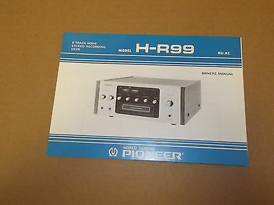 Pioneer H-R99  8 Track Deck Original Operating Instructions Owners Manual