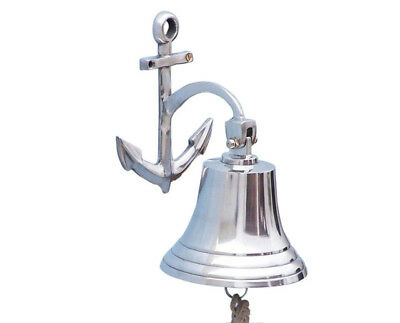 "Chrome Plated Solid Aluminum Ship's Bell 6.5"" w/ Anchor Bracket Hanging Decor"