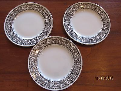 Lot 3 Bread & Butter Plates Style House EMPRESS Fine China Japan Black Floral