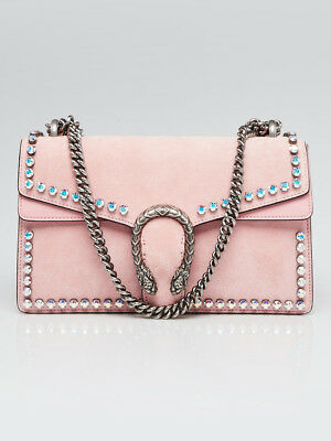 fd894ac3d0b GUCCI PINK SUEDE Crystal Small Dionysus Shoulder Bag -  2