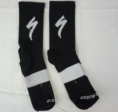 2 Pairs Specialized Cycling Compression Crew Socks Small//Medium Black Gray Logo