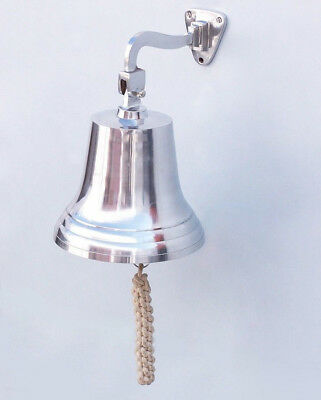 "Chrome Plated Solid Aluminum Ship's Bell 9.5"" Nautical Hanging Wall Decor New"