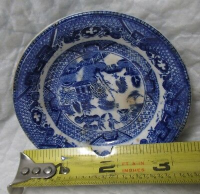 """Antique Vintage England Blue Willow Butter Pat 3 1/4"""" signed ENGLAND kitchenware"""