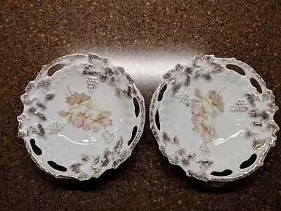 """Antique Vintage Set of Two Small 5"""" Dish / Saucer Floral Pattern w/Grapes #74"""