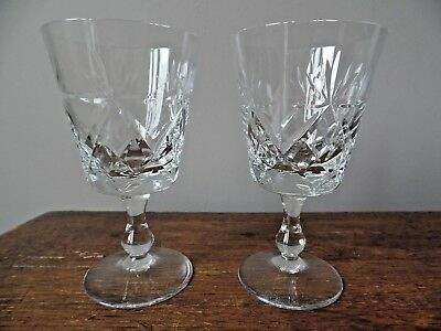 Two Royal Brierley Crystal Bruce Cut Port Wine Glasses 4 7/8 Inches