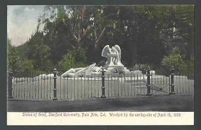 1913 PPC* Disaster Earthquake Destroyed Statue Of Grief Palo Alto Ca Mint