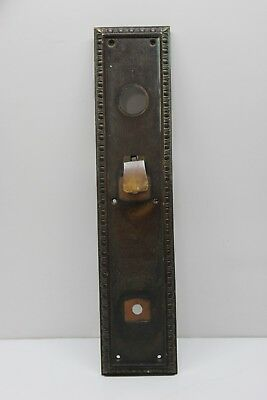 Vintage Large Heavy Solid Brass Door Handle Backplate w/ Thumb Latch - Victorian