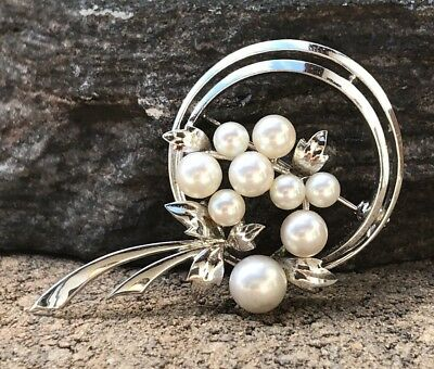 Authentic Vintage Mikimoto White Akoya Pearl Sterling Silver Japan Pin Brooch