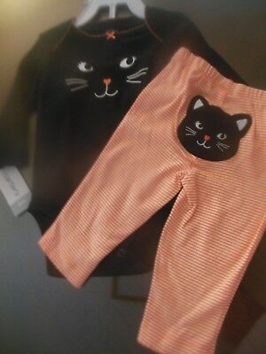Carters Baby Girls 2pc Halloween Outfit Bodysuit/Pants, Black Cat Face, 6M