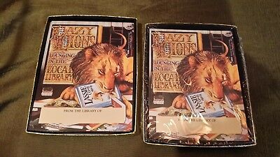 Vintage Antioch Bookplates Lazy Lions Lounging in the Local Library