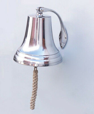 "Chrome Plated Cast Aluminum Ship's Bell 11.5"" Nautical Hanging Wall Decor New"