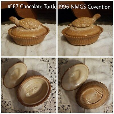 Chocolate Turtle 1996 NMGS ConventionAntique/Vintage Milk Glass Covered Dish