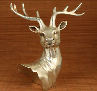 Rare Big Copper plate Silver Hand Casting Deer Statue Figure feng shui hallway