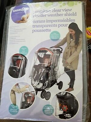 Babies R US Premium Clear View Stroller Weather Shield with Reflective Trim