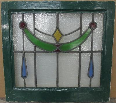 "OLD ENGLISH LEADED STAINED GLASS WINDOW Pretty Colorful Swag & Drops 20.5"" x 19"""