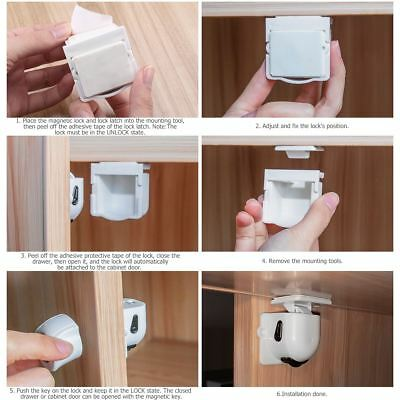 Magnetic Cupboard Cabinet Drawer Safety Lock Latch Corner Safety Guard Kid Proof