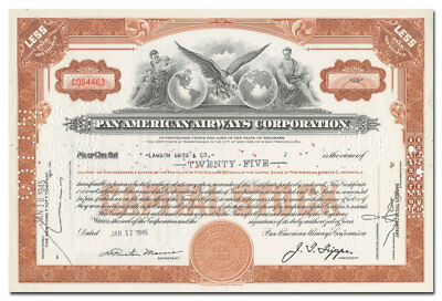 Pan American Airways Corporation Stock Certificate (Older Type)