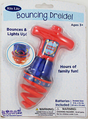 Rite Lite Light-Up Bouncing Dreidel Toy Ages 3+ Red/Blue - Battery Operated