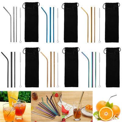 5pcs/Set Reusable Stainless Steel Home Party Drinking Straws Clean Brush w/ Bag