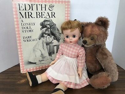 Vintage 1950's Madame Alexander Edith Doll, Steiff Mohair Bear And Book Set