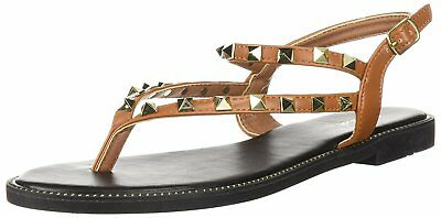 c63a901c9518 Qupid Womens thong studs flats Open Toe Casual Ankle Strap Sandals